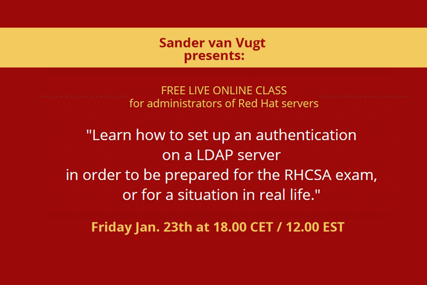Free Live Online Class: Learn how to set up an authentication on an LDAP server